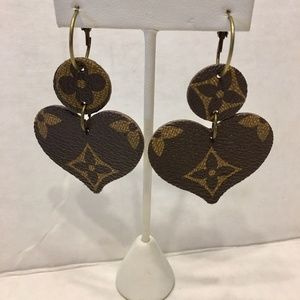 Heart Dangle Upcycled Leather Earrings Inspired